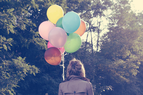 balloons, bleu, colors, girl, pretty