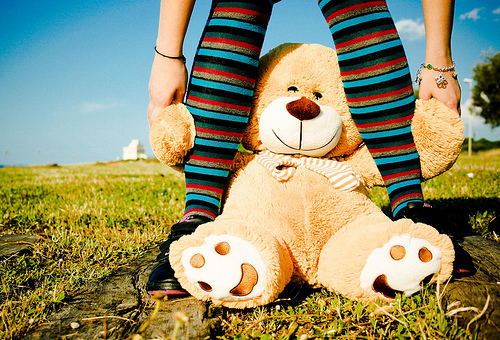bear, colors, grass, photography, socks, sweet, teddy bear