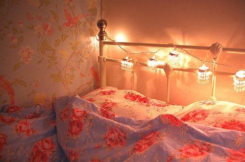 bed, bedroom, cath kidston, cute, fairy lights