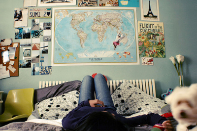 bed, dog, girl, laying, legs, posters, room, wall