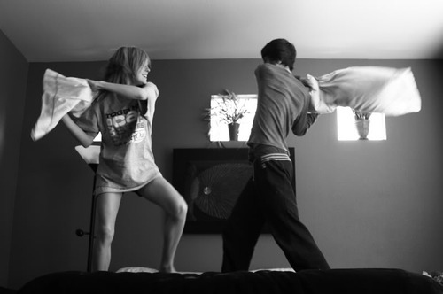 boy, couple, cute, girl, pillow fight, pillows