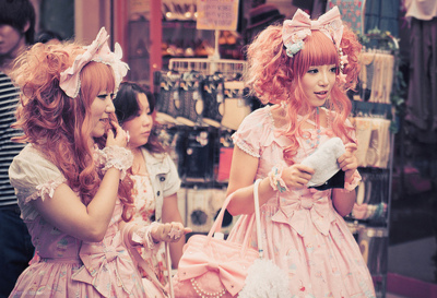 cute, girls, gyarus, japanese, kawaii, lolita, pink hair, ribbon, sweet lolita