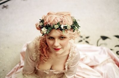 dress, flowers, girl, hair, kirsten dunst, marie antoinette, pink