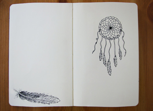 amazing, art, beautiful, cute, deram catchers, doodle, drawing, dream, feather, feathers, illustraion, indian, moleskine, native, native americans, pen, photography, pretty, reneelouise, sketch, versaemerge