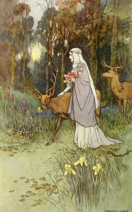 antique, antlers, art, deer, fairy tale, flowers, forest, girl, illustration, pretty, trees, vintage, warwick goble, woman
