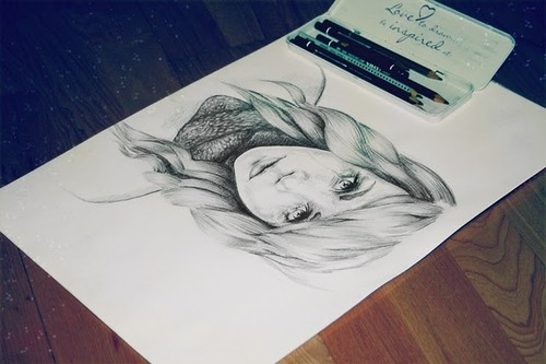 art, braid, drawing, girl, pencil
