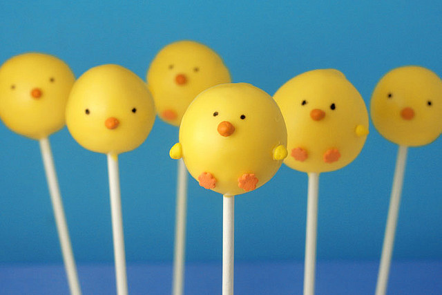 baby chickens, cupcake, easter, pops, yellow