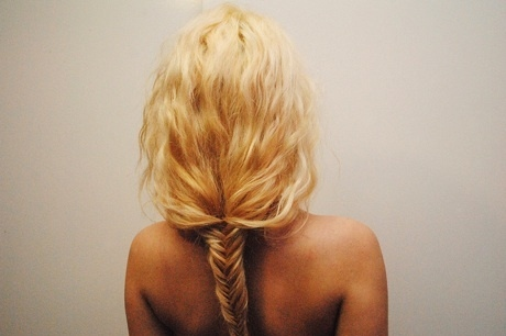back, blonde, french braid, girl, hair