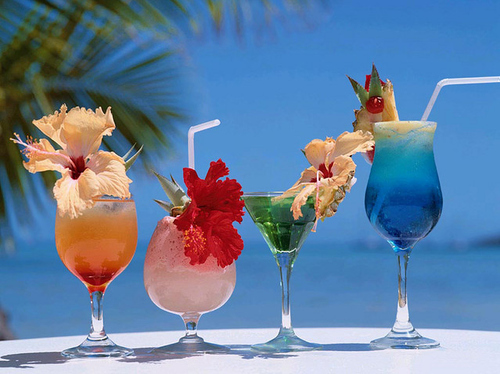 beach, drinks, flowers, fruit, heaven