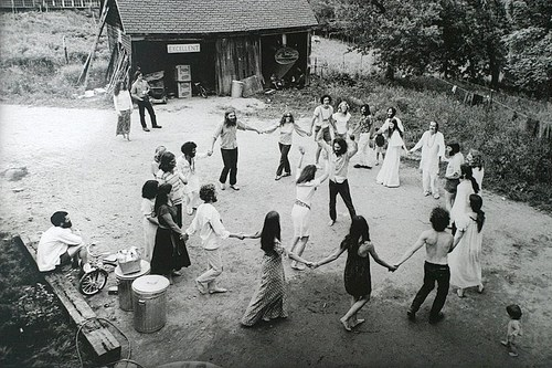 black and white, circle, commune, dance, dancing, friends, hippie, hippies, hippy, people
