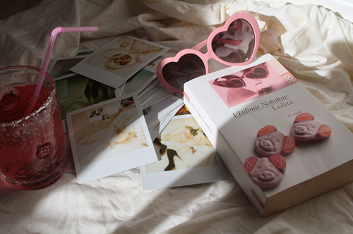 book, cute!!, drink, heart, heart sunglasses, lolita, nabokov, photograph, polaroid, sunglasses