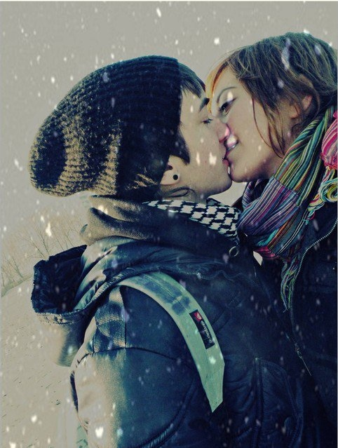 boy, girl, kiss, love, snow