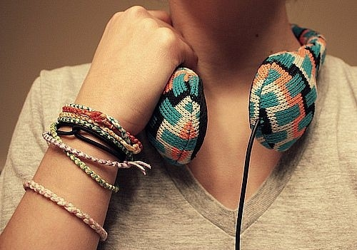 bracelet, bracelets, colorful, earphones, girl