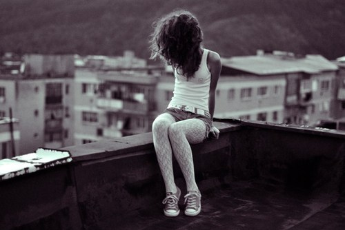 city, converse, girl and roof