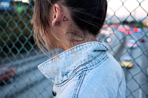 cute, denim, girl, hair, hipster, piercings, tattoo, triangle