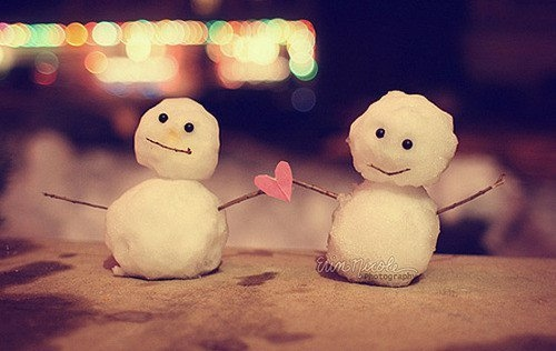 cute, heart, snow, winter