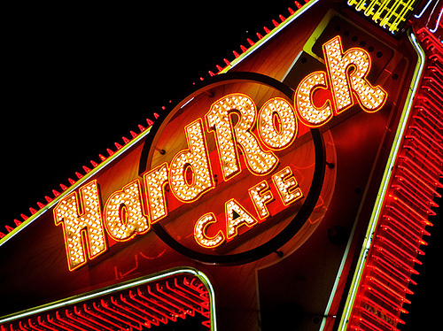 hard rock cafe, light, red, rock