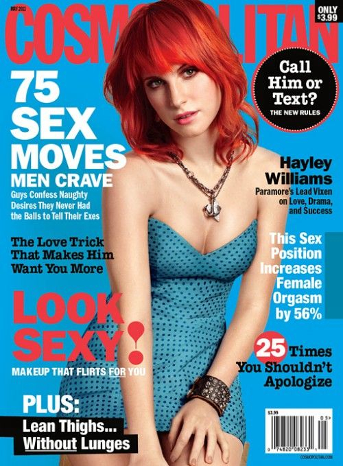 75 sex moves, cosmo, cover, hayley williams, magazine