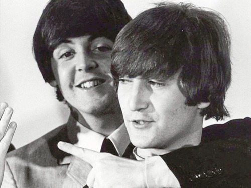 adorable, awww, cuties, john lennon, paul mccartney