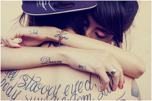 agatha, couple, cute, girl, guy, hat, hug, love, tattoo, tattoos