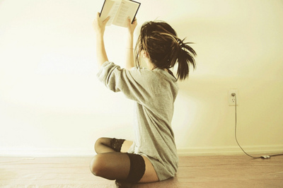 alone, black, black and grey, book, brunette