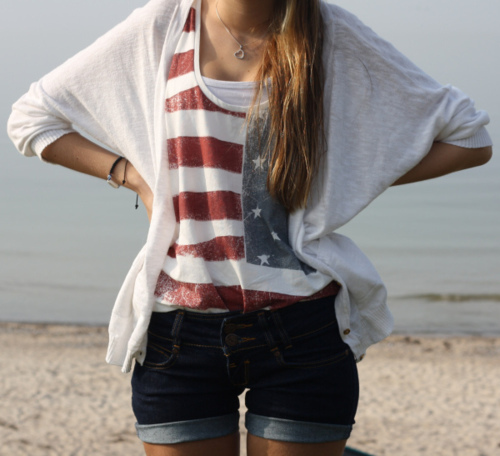 america, beach, blonde, blue, clothes, fashion, flag, hair, heart, jean, long, necklace, pretty, red, sand, sea, short, stars, style, summer, white