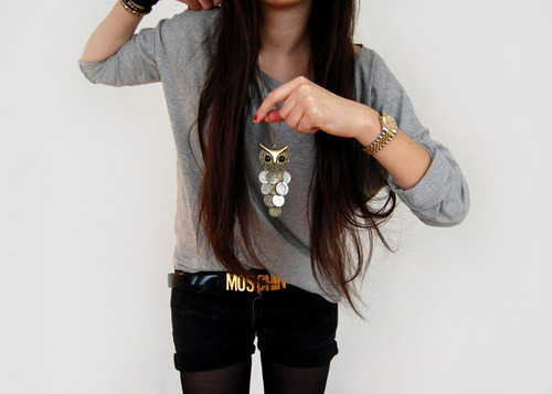 ample, art, belt, black, brand, brunette, famous, fashion, girl, grey, hair, long hair, moschino, nails, necklace, red, separate with comma, sexy, text, top, watch