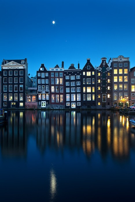 amsterdam, canal, moon, netherlands, night, sky, windows