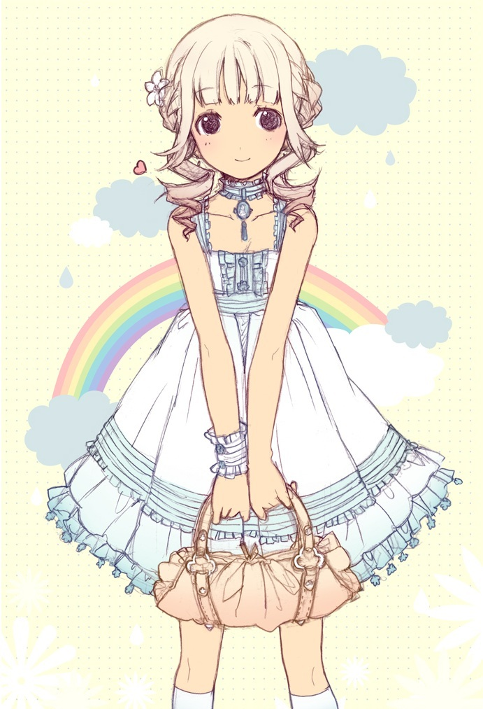 anime, anime girl, cute, h2so4, rainbow