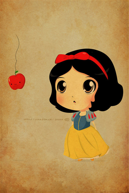 apple, cartoon, cute, disney, draw, girl, illustration, princess, sketch, snow white