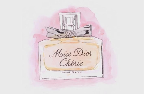 art, bottle, dior, illustration, miss dior cherie, perfume