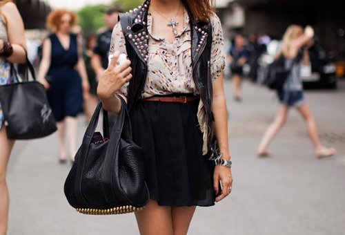 bag, blouse, fashion, girl, skirt