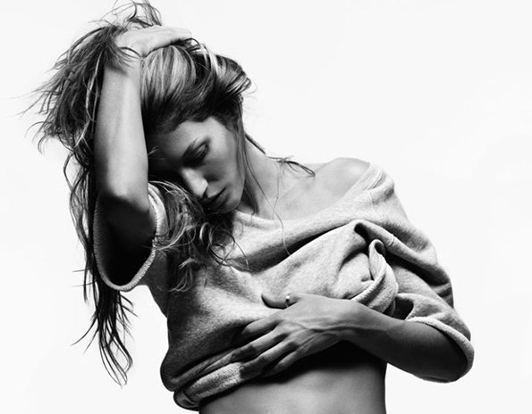 b&w, girl, gisele, gisele bundchen, hair, model, pretty, ring, topless, v magazine