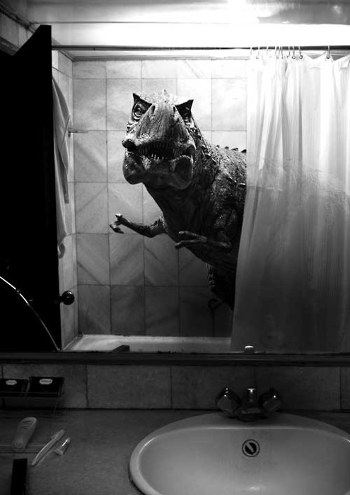 bathroom, black and white photography, dinosaur, film, movie