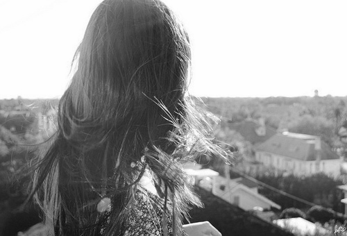 beautiful, black and white, city, girl, hair, staring, sunlight