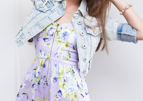 beautiful, blue, blue jean, bracelets, brunette, cute pretty, dress, flower, flowers, girl, green, hair, jean, liberty, violet