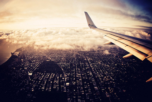 beautiful, city, plane