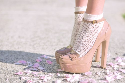 beige, beige heels, beige shoes, elegant, fashion, floral, flower petals, high heels, lace, pale pink, pastel, pink heels, pink shoes, shoes, socks, white