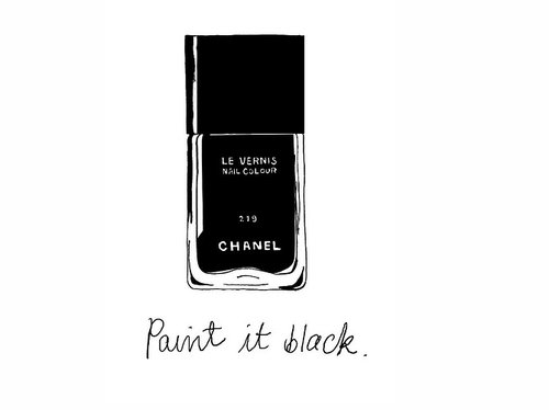 black, chanel, chanel nail polish, drawing, fashion