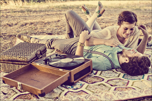 blanket, couple, love, lying down, record player