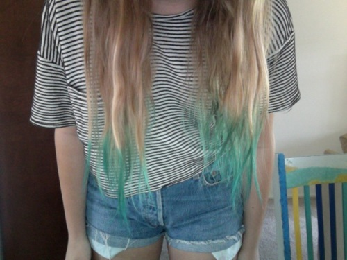 blonde, blue, clothes, cute hair, dip dyed, fashion, girl, hair, mint, photo, photograph, photography, shorts