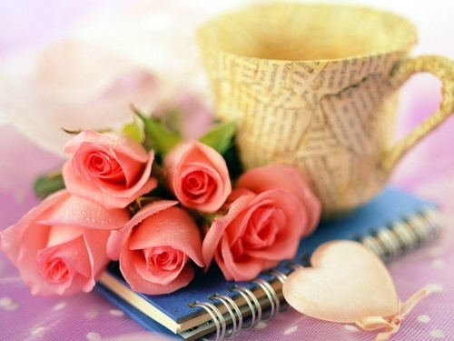 book, cup, diary, flowers, heart