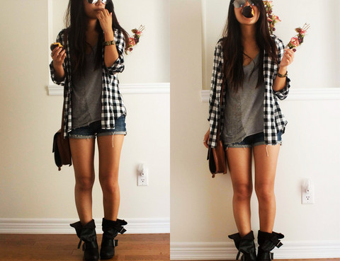 boots, brunette, cute, fashion, girl, long hair, mcloset, mess, mstyle, outfits, plaid, pretty, separate with comma, sexy, shorts, tan, trendy