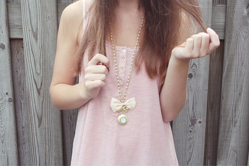 bow, fashion, girl, loop, necklace, outfit, pastel, pink, ribbon, vintage, wood