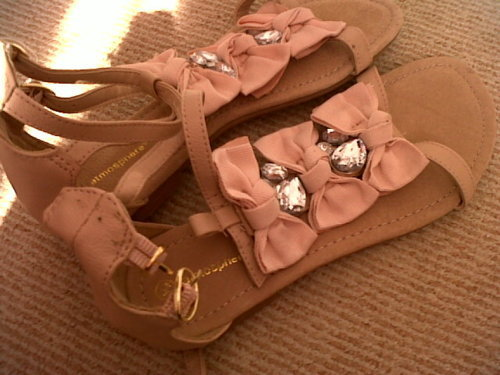 bows, cute, flats, pink, sandals, shoes
