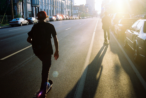 boy, guys, hat, road, skate, skateboarding, skaters, sun, sunlight