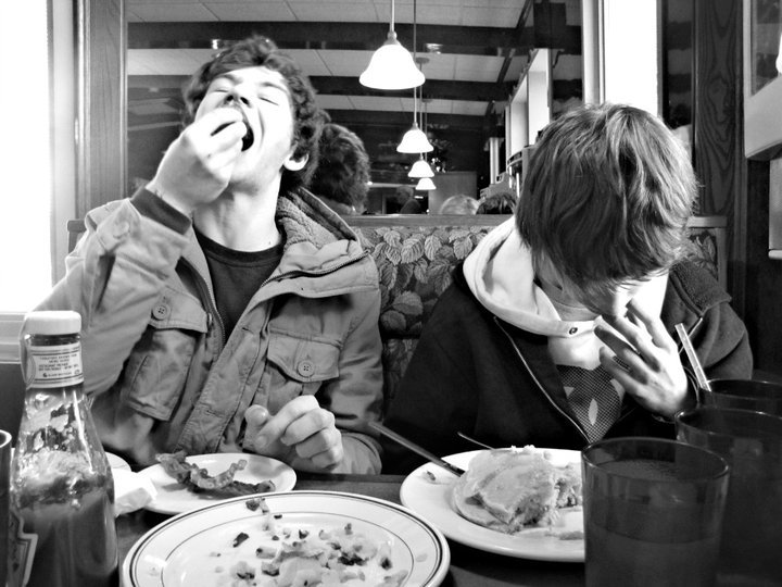 boys, diner, eating, food