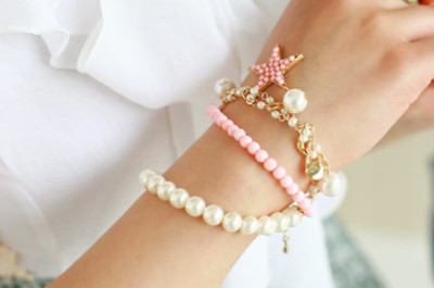 bracelet, bracelets, cute, fashion, girls, pearls, pink, separate with comma, star, white, wrist
