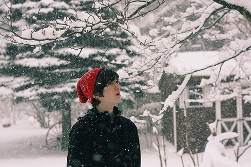 branches, cap, hat, looking up, red, snow, snow falling, snowing, trees