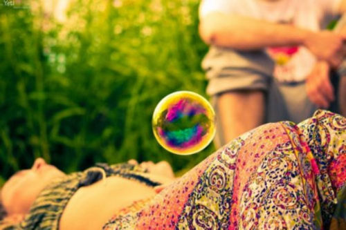 bubble, free, grass, happy, hippie